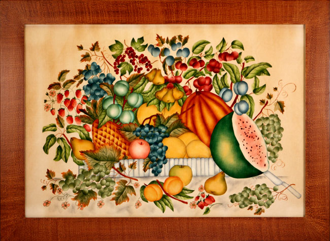 Traditional Theorem Painting by American Folk Artist Nancy Rosier - Will be at the Artisans Tent at Zoar Ohio